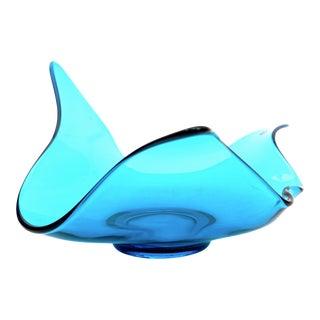 Mid-Century Modern Turquoise Blue Art Glass Freeform Bowl