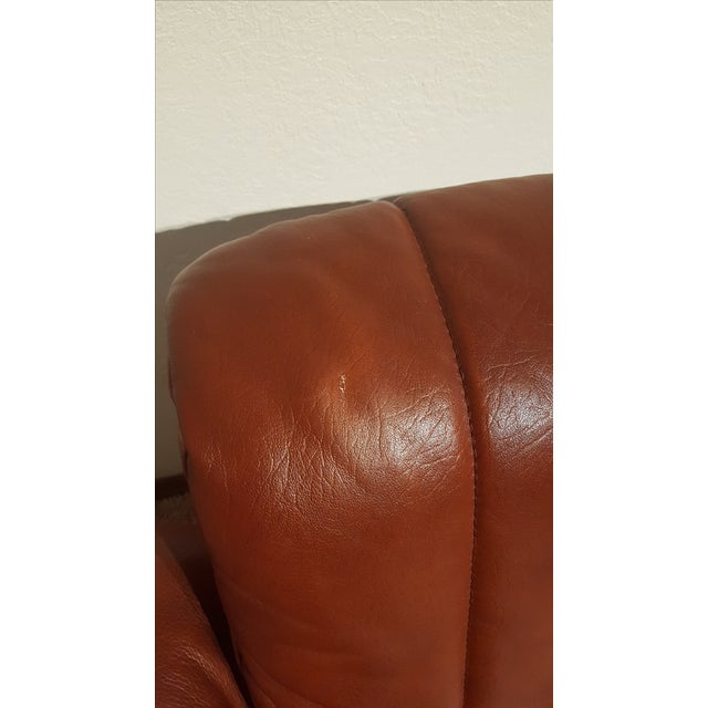 Red-Brown Leather Midcentury Modern Sofa - Image 11 of 11