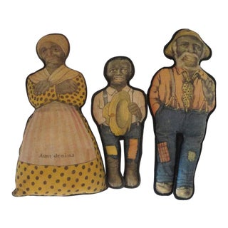 Rare and Early 20th Century Original Litho Cloth Aunt Jemima & Mose & Wade Dolls