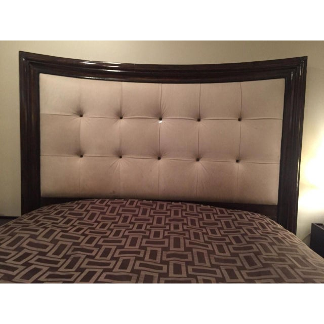 Modern Tufted King Bed in Beige Suede - Image 10 of 10