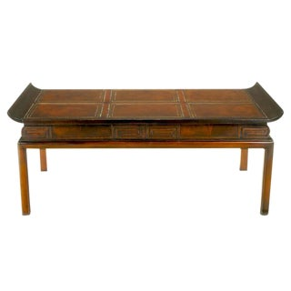 1940s Mahogany and Leather Pagoda Top Greek Key Coffee Table