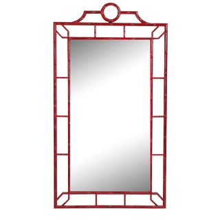 Red Faux Bamboo Chinoiserie Mirror