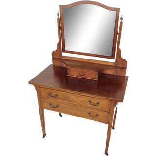 English Inlaid Vanity & Beveled Mirror