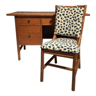 Mid-Century Raffia Front Desk & Bamboo Chair