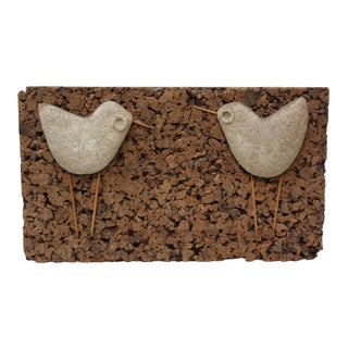 Whimsical Stone and Cork 'Bird' Sculpture