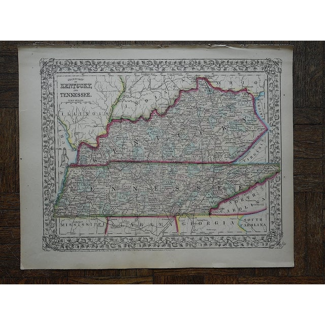 Image of Kentucky & Tennessee Antique Map Lithograph