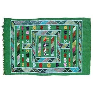 Moroccan Berber Green Rug - 3' x 4'8''