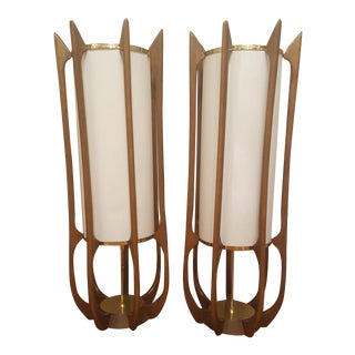 Adrian Pearsall Danish Modern Teak Table Lamps - A Pair