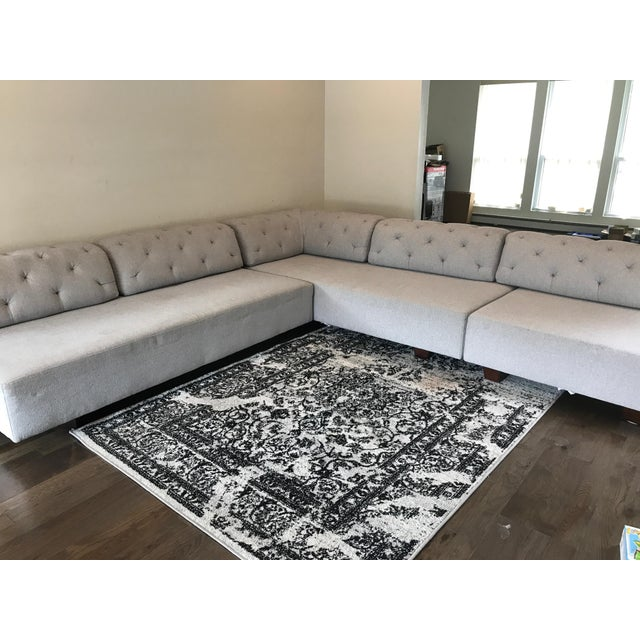 West Elm Tufted Gray Sectional - Image 4 of 5