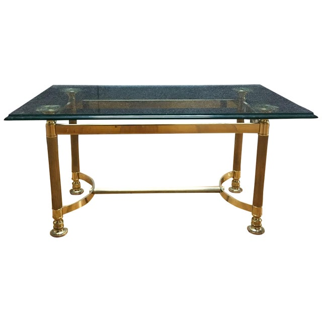 Hollywood Regency Brass & Glass Coffee Table - Image 1 of 6