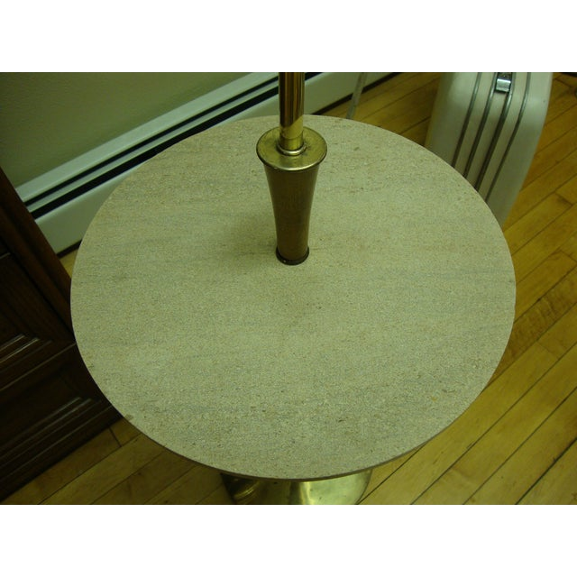 Image of MCM Floor Lamp with Travertine Marble Table