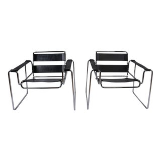 Vintage Mid-Century Wassily Style Chairs - A Pair