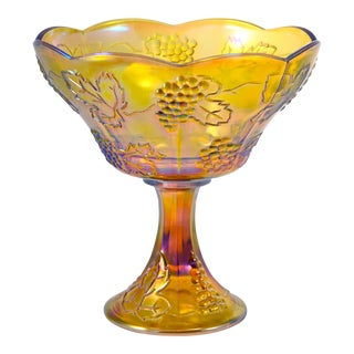 Iridescent Amber Pedestal Bowl