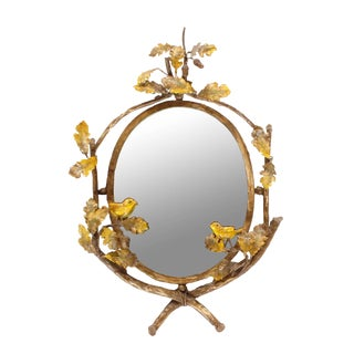 Iron Bird Decorated Oval Mirror - A Pair