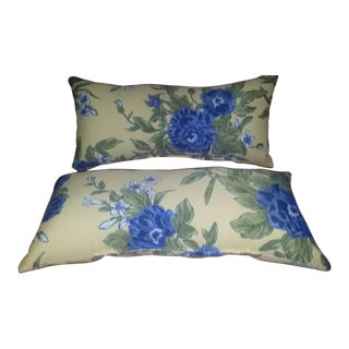 Yellow & Blue Floral Accent Pillows - A Pair