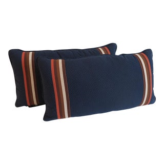 Custom Navy and Orange Stripe Pillows - a Pair