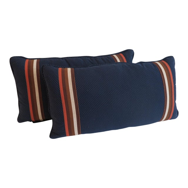 Custom Navy and Orange Stripe Pillows - a Pair - Image 1 of 4