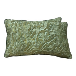 Fortuny Green Kidney Pillows - A Pair