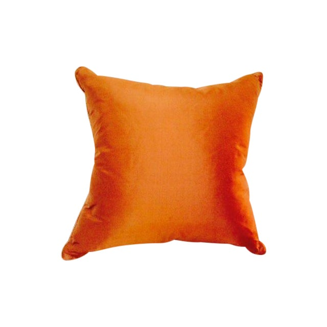 Two Toned Orange Silk Pillow - Image 1 of 5