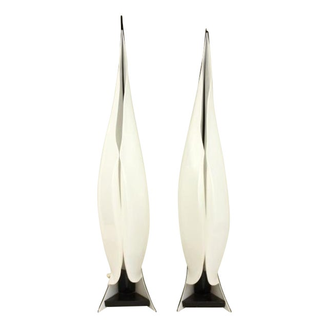 Large Rougier Lucite Sculptural Lamps - a Pair - Image 1 of 10