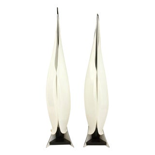Large Rougier Lucite Sculptural Lamps - a Pair