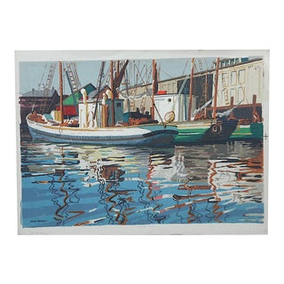 "Large Vintage Serigraph By Mark Coomer-""Glouster Harbor"""