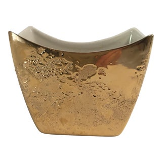 "Midcentury ""Weeping Bright "" Gold Vase / Bowl"