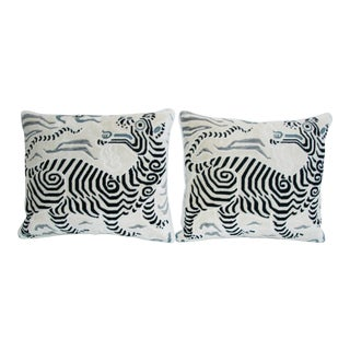 Hollywood Glam Clarence House Dragon Fabric Pillows - Pair