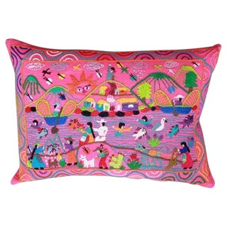 Pink Pátzcuaro Lake Pillow Cover