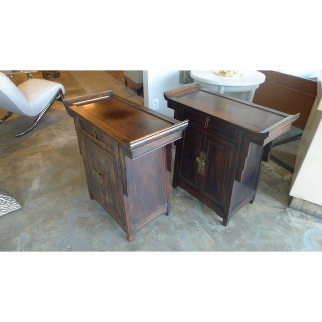 Image of Pair of Wood Chinese Side Cabinets