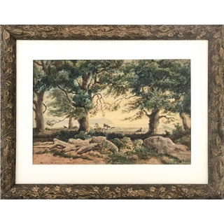 19th C. French Watercolor Figures Forest Landscape