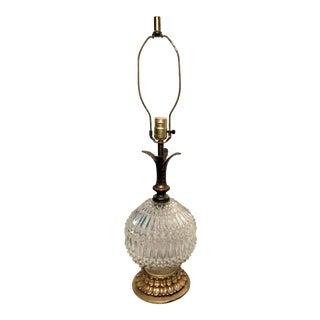 Vintage Diamond Cut Glass Globe Table Lamp