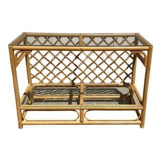 Vintage Rattan & Glass Bar/Console Table