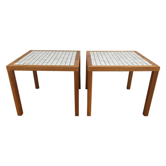 MCM Teak & Tile End Tables - A Pair - Image 1 of 7