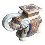 Image of Cream & Blue Chinoiserie Ceramic Garden Seat