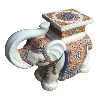 Cream & Blue Chinoiserie Ceramic Garden Seat