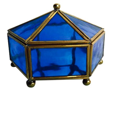 Vintage Brass & Stained Glass Display Case - Image 1 of 7
