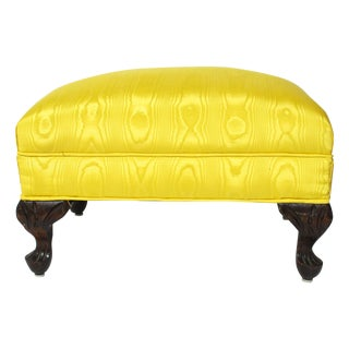 Vintage Carved Yellow Ottoman with Cabriole Legs