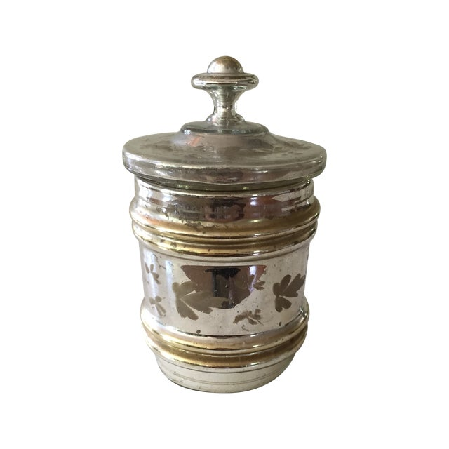 Antique Mercury Glass Covered Candy Dish - Image 1 of 5