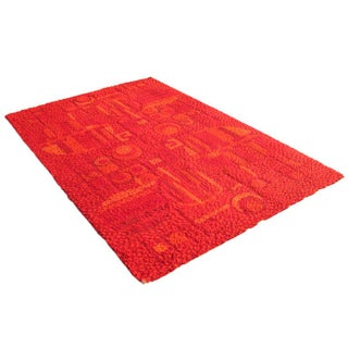 Geometric Danish Mid-Century Red Area Rug