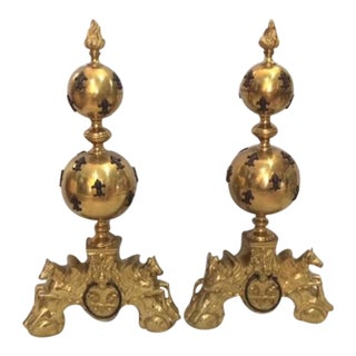 Monumental Flemish Brass & Splayed Andirons - A Pair