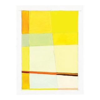 Contemporary Yellow Mixed Media Painting