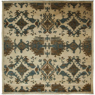 "Eclectic, Hand Knotted Square Rug - 6' 1"" x 6' 2"""