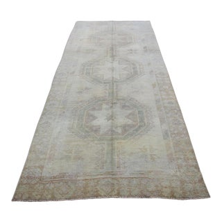 Mid 20th C. Vintage Antique Tribal Oushak Neutral Soft Hand Knotted Turkish Rug - 4'6 X 11'