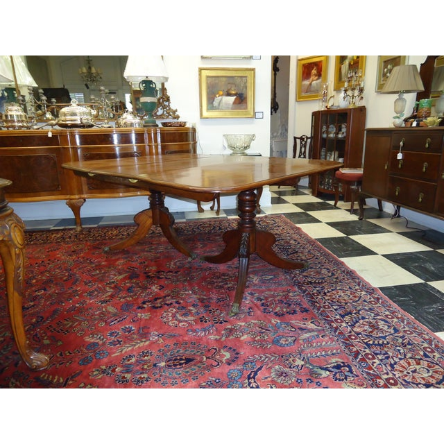 Vintage 1920s Walnut Double Pedestal Dining Table - Image 2 of 4