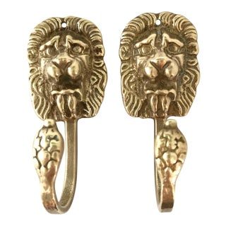 Vintage Lion Head Brass Hooks - a Pair
