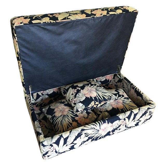 storage ottoman matching pillows chairish. Black Bedroom Furniture Sets. Home Design Ideas