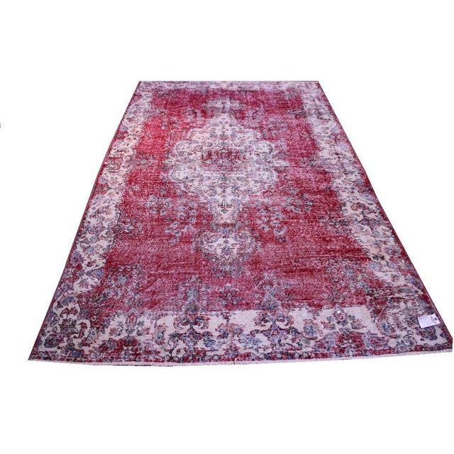 "Distressed Turkish Rug Decorative Rug, 6'1"" X 9'8"" - Image 1 of 8"