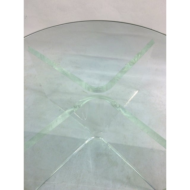 Glass Coffee Table on Bent Lucite Base - Image 5 of 6