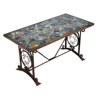 Antique Spanish Iron Coffee Table W/ Mosaic Tiles